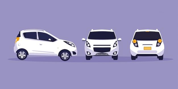 Witte auto in onderhoudsworkshop Premium Vector