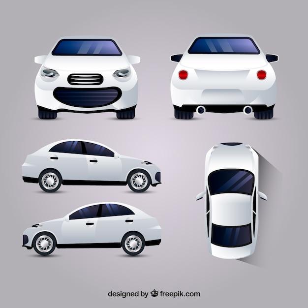 Witte auto in verschillende standpunten Premium Vector
