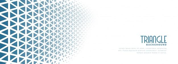 Witte banner met blauwe driehoek halftoonpatroon ontwerp Gratis Vector