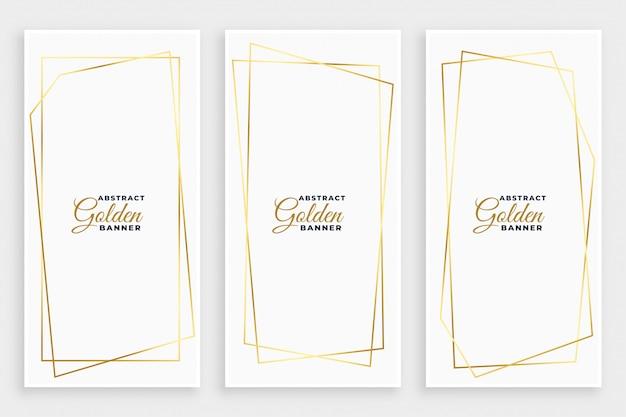 Witte banner met gouden geometrische lijnkaders desiign Gratis Vector