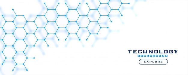 Witte bannerachtergrond met blauwe zeshoeklijnen Gratis Vector