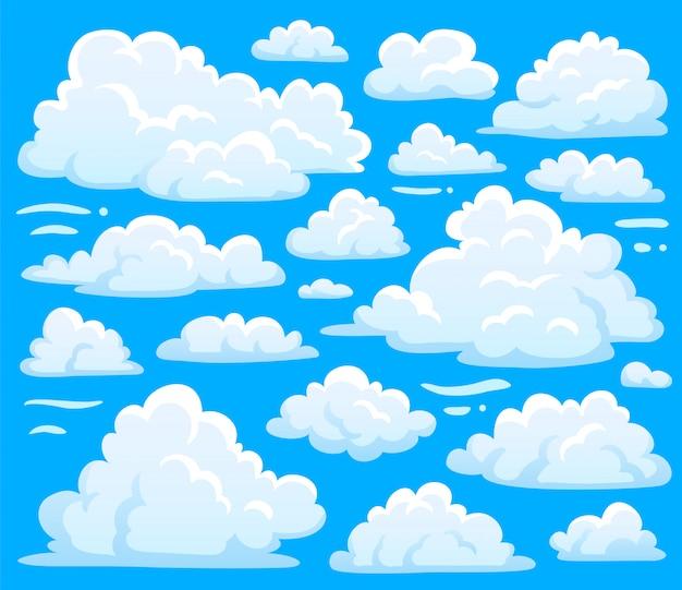 Witte blauwe dag cumulus wolk symbool vorm of cloudscape achtergrond. Premium Vector