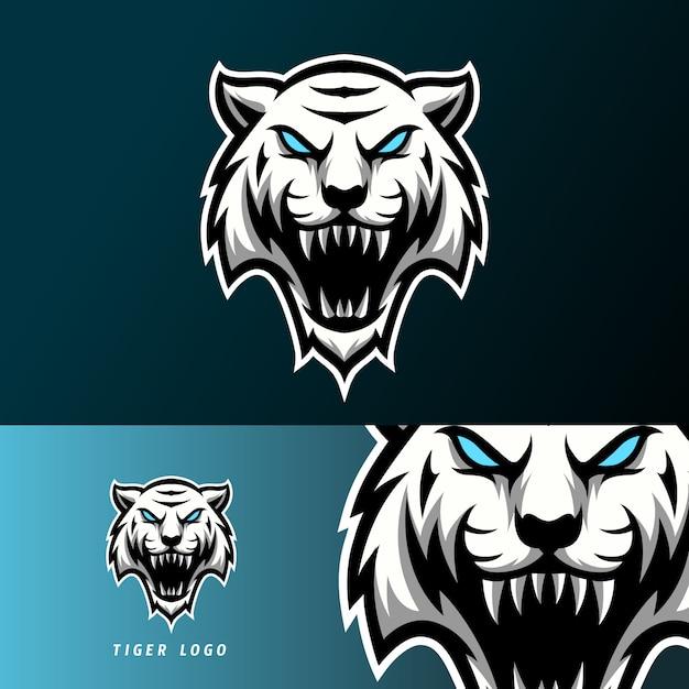 Witte boze tijger mascotte sport esport logo sjabloon lange hoektanden Premium Vector