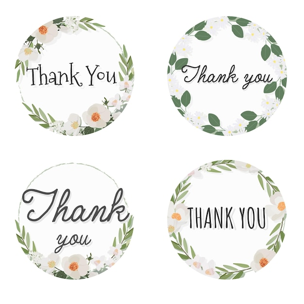 Witte camellia bloem krans frame met dank u tekst, collectie vlakke stijl Premium Vector