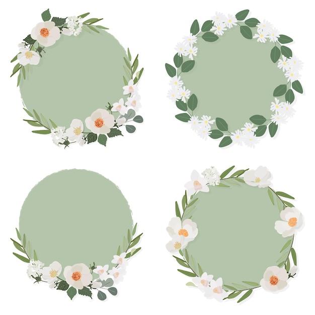Witte camellia bloem op groene cirkel krans frame collectie vlakke stijl Premium Vector