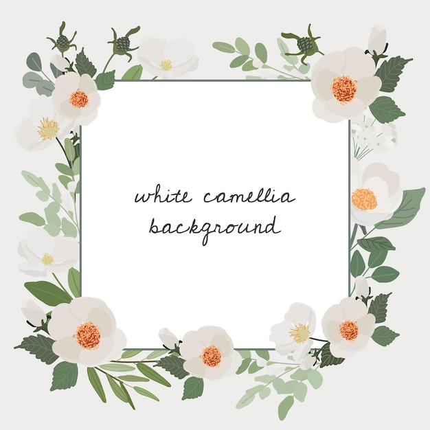 Witte camellia bloemboeket krans frame vierkante banner Premium Vector