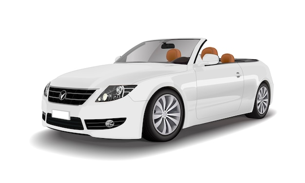 Witte converteerbare auto geïsoleerd op witte vector Gratis Vector