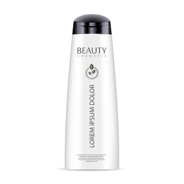 Witte cosmetische fles voor shampoo, douchegel. Premium Vector