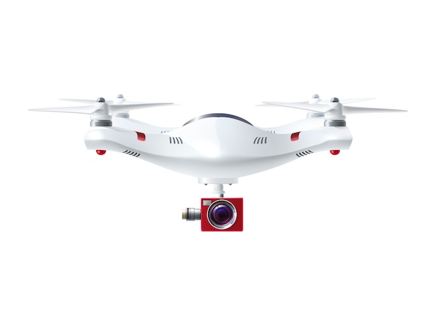 Witte drone met rode camera Gratis Vector