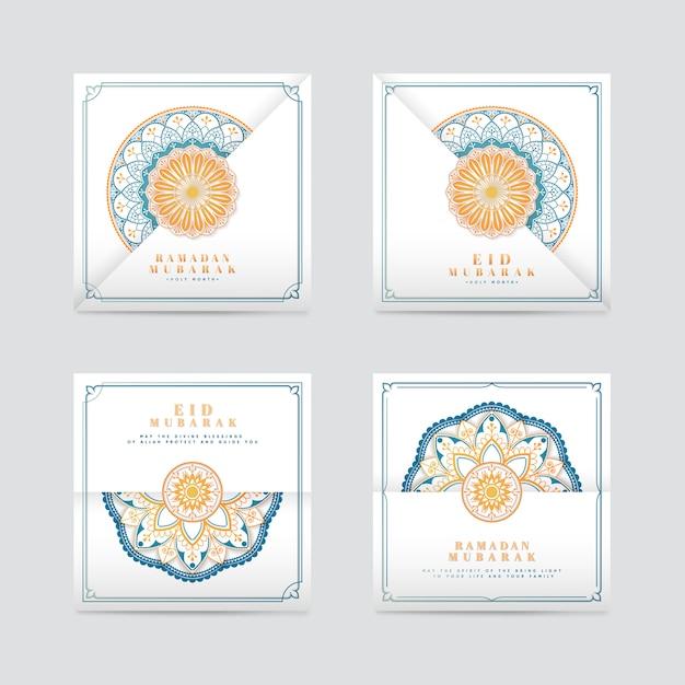 Witte eid mubarak-kaartenset Gratis Vector