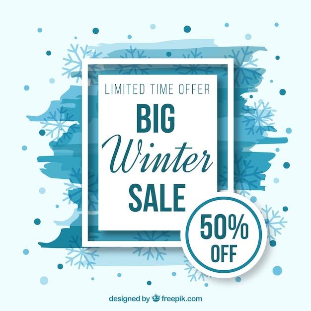 Witte en blauwe winter verkoop achtergrond Gratis Vector