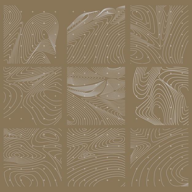 Witte en bruine abstracte contourlijn kaartenset Gratis Vector