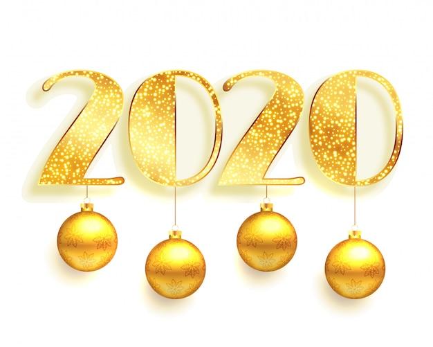 Witte en gouden 2020 op de achtergrond van de fonkelingenstijl Gratis Vector