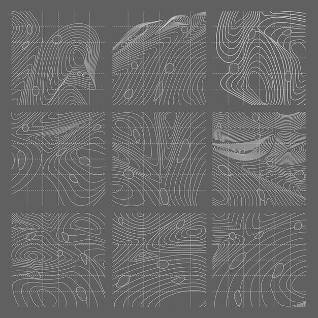 Witte en grijze abstracte contourlijnen kaartenset Gratis Vector