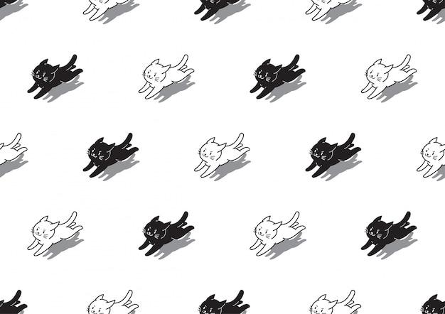 Witte en zwarte katten naadloze patroonachtergrond Premium Vector