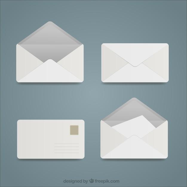 Witte enveloppen collectie Gratis Vector