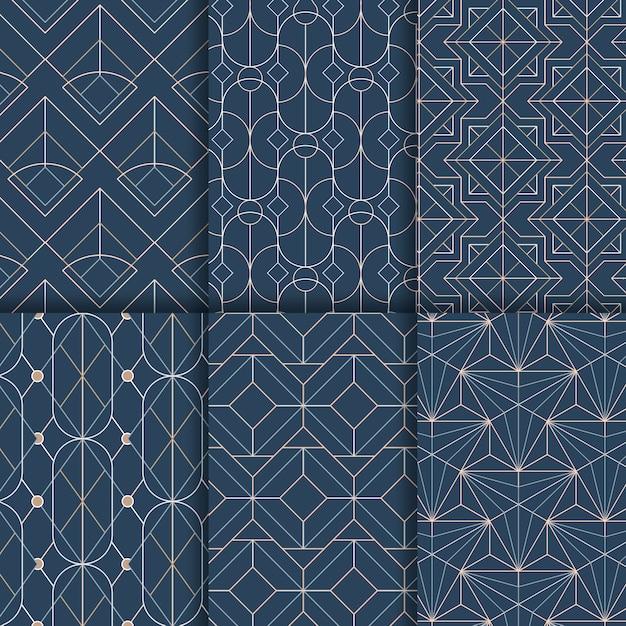Witte geometrische naadloze patronen die op een blauwe achtergrond worden geplaatst Gratis Vector
