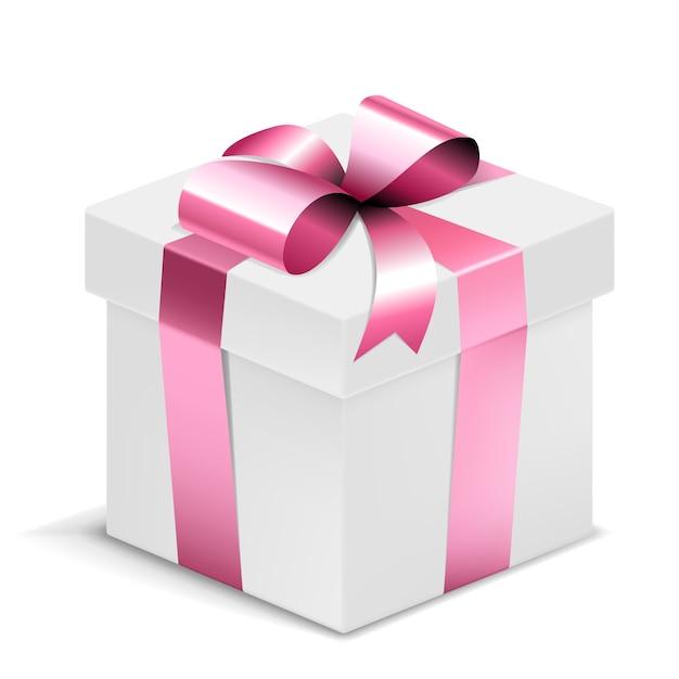 Witte geschenkdoos met roze strik geïsoleerd Gratis Vector