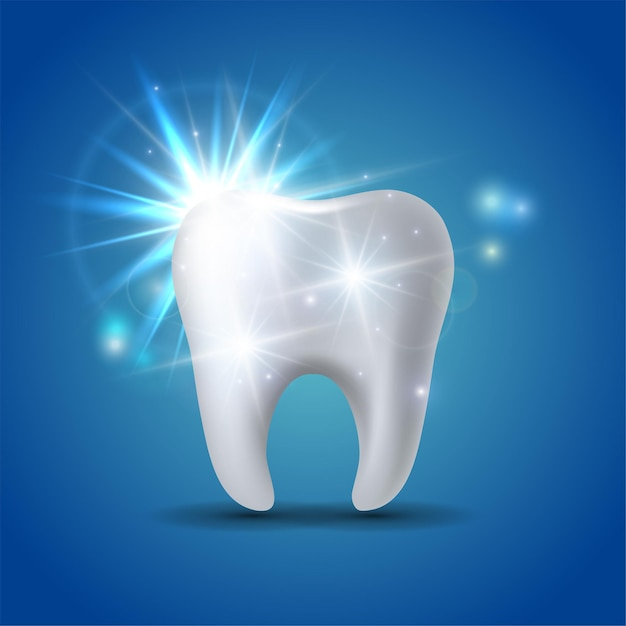 Witte glanzende tand geïsoleerd op blauw Premium Vector