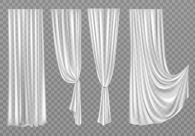 Witte gordijnen geïsoleerd op transparant Gratis Vector