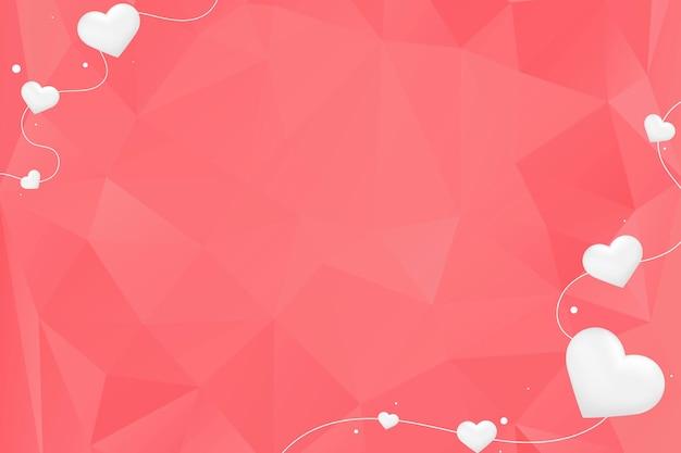 Witte harten op rode achtergrond Gratis Vector