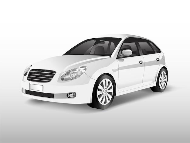 Witte hatchbackauto die op witte vector wordt geïsoleerd Gratis Vector