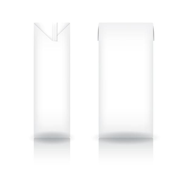Witte kartonnen doos voor melk, sap, koffie, thee, kokosmelk of zuivelproduct Premium Vector