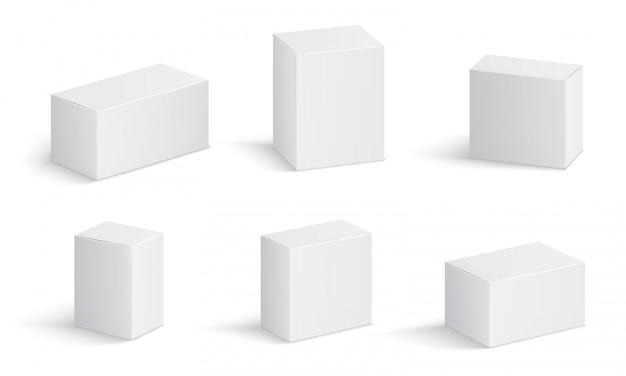 Witte kartonnen dozen. leeg medicijnpakket in verschillende maten. medische product vierkante doos 3d Premium Vector