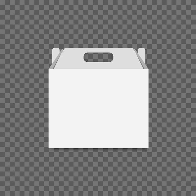 Witte kartonnen lunch box vector op transparante achtergrond. Premium Vector