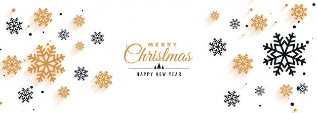 Witte kerst banner met sneeuwvlokken decoratie Gratis Vector