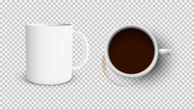 Witte koffiekop en witte kop uitzicht vanaf de bovenkant en koffievlek Premium Vector