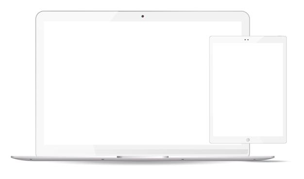 Witte laptop, tablet pc mockup ingesteld. mobiele toestellen Premium Vector