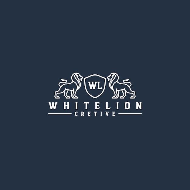 Witte leeuw lijntekeningen logo Premium Vector