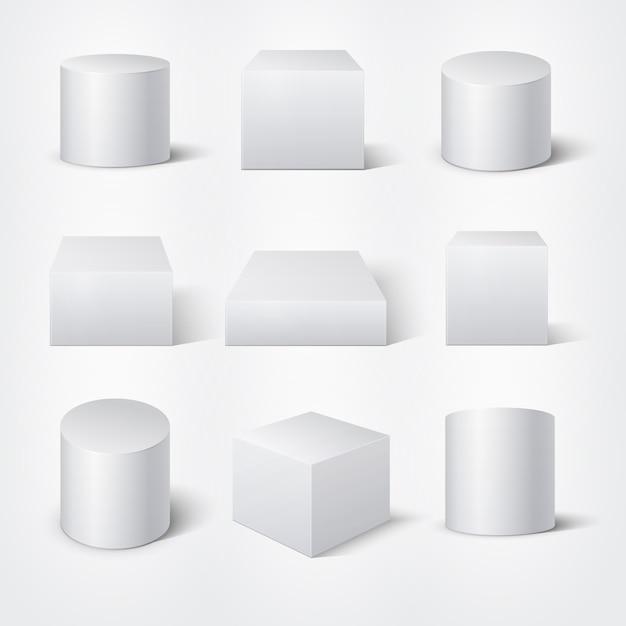 Witte lege 3d-cilinders en kubussen. vector product podiums sjabloon. cilinder geometrisch element, de illustratie van de het cijferinzameling van de vormmeetkunde Premium Vector