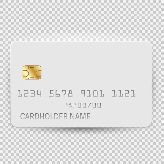 Witte lege bankkaart sjabloon bovenaanzicht met schaduw geïsoleerd op transparante achtergrond. Premium Vector