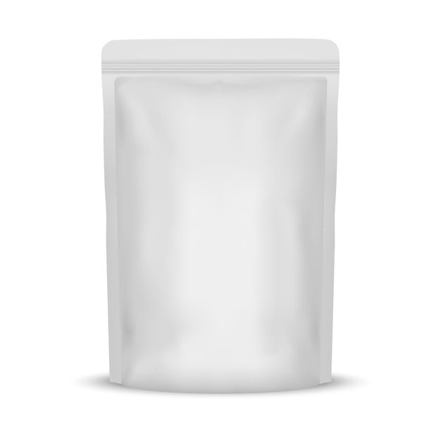 Witte lege folie voedselzak verpakking Premium Vector