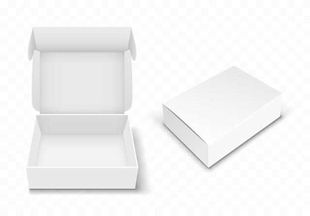 Witte lege kartonnen doos met flip-over, realistisch Gratis Vector