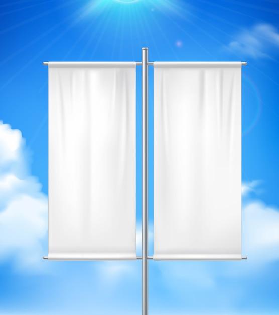 Witte lege realistische dubbele pool reclamevlag buiten Gratis Vector