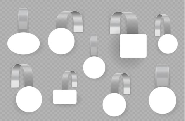Witte lege reclame wobblers geïsoleerd op transparante achtergrond. 3d blanco witte ronde wobbler. concept voor promotieverkoop, supermarktprijskaartje. vierkante etiketten voor papierverkoop. illustrtaion Premium Vector