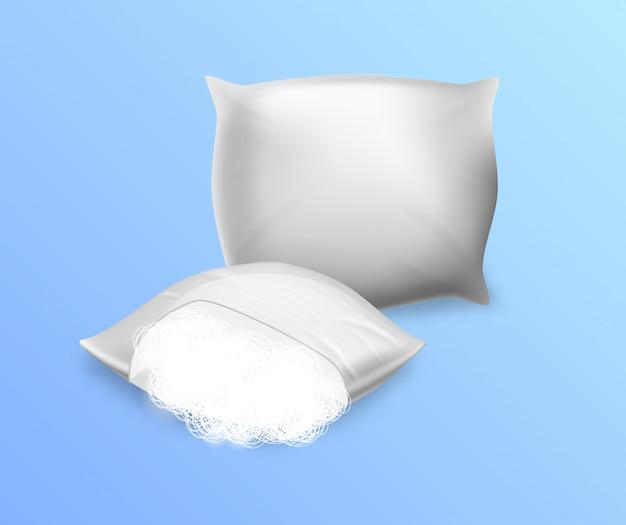 Witte lege sintepon-kussens geïsoleerd Premium Vector
