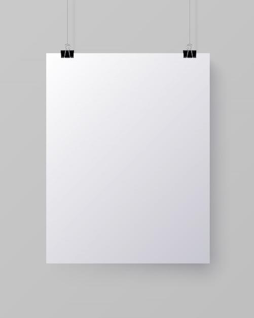 Witte lege verticale vel papier, mock-up Premium Vector