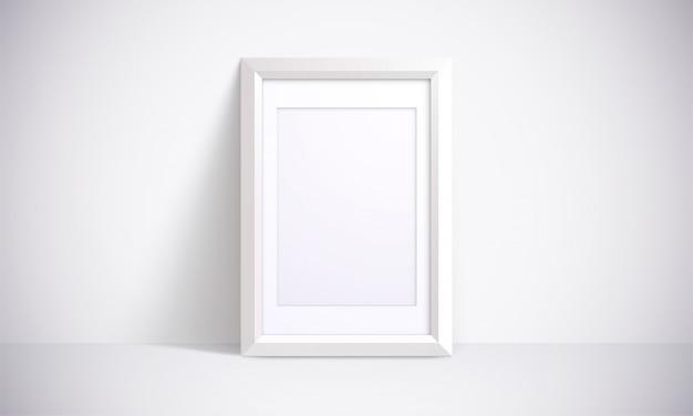 Witte lijst voor foto's, schilderen of posters. 3d-afbeelding. realistische interieur scene. Premium Vector