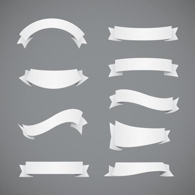 Witte linten collectie Gratis Vector