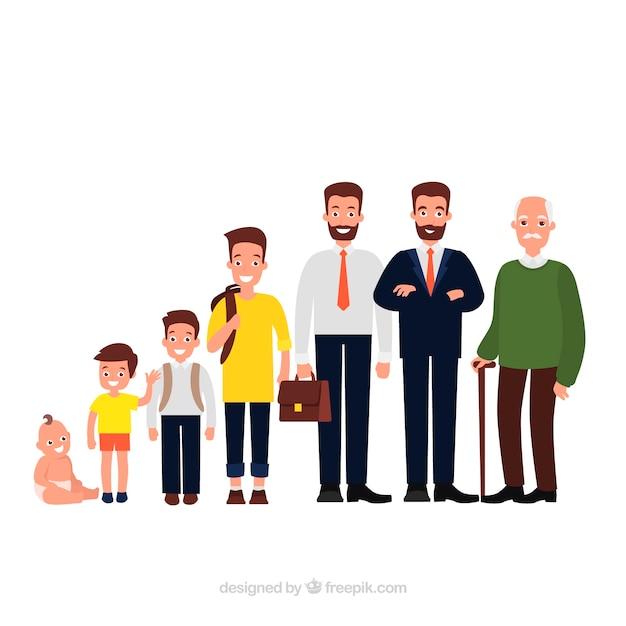 Witte mannencollectie in verschillende leeftijden Gratis Vector