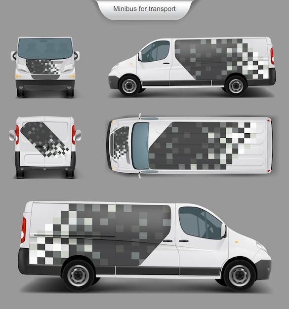 Witte minivan top. voorkant, achterkant, zijaanzicht Gratis Vector