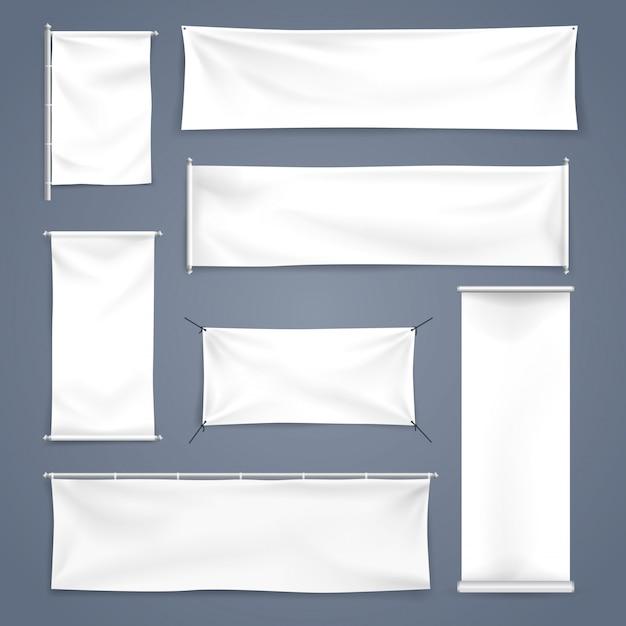 Witte mock up textiel en oprollen banner met plooien, vectorillustratie Premium Vector