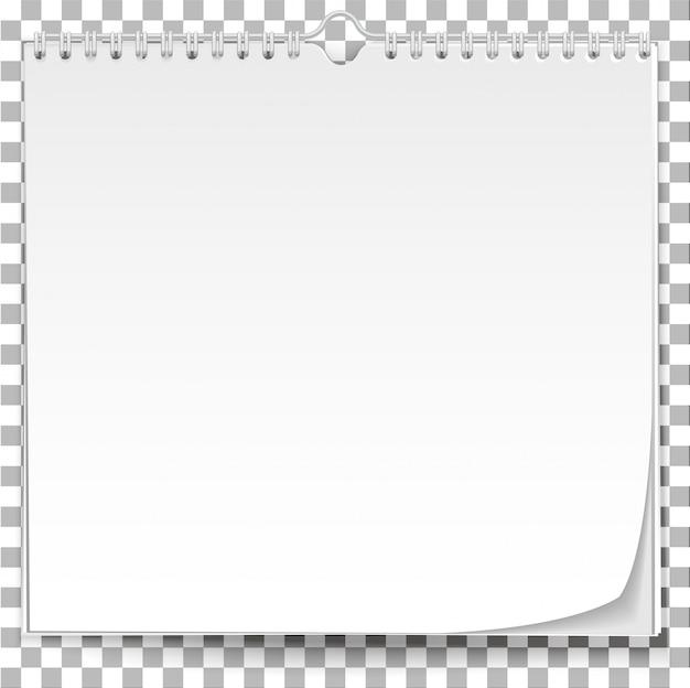 Witte muur kalendersjabloon op transparante achtergrond Premium Vector