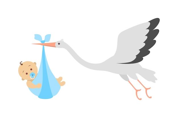 Witte ooievaar die met pasgeboren baby vliegt. aankondiging van de geboorte van een kind. wenskaart voor baby geboren feest. illustratie Premium Vector