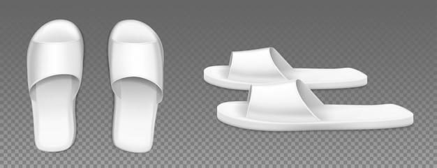 Witte pantoffels boven- en zijaanzicht schoenen voor thuis Gratis Vector