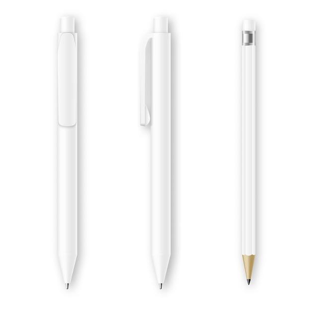 Witte pen en potlood vectormodellen Premium Vector